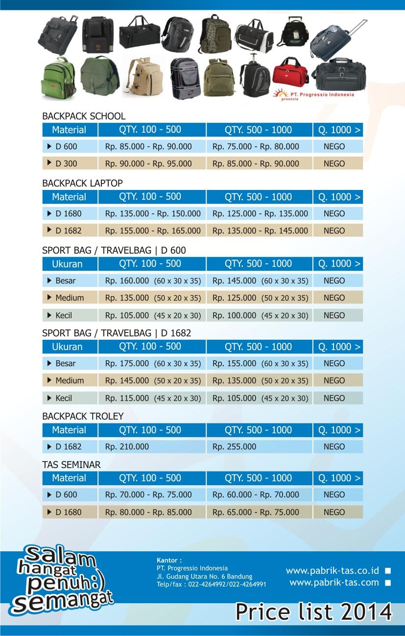 price list tas ransel
